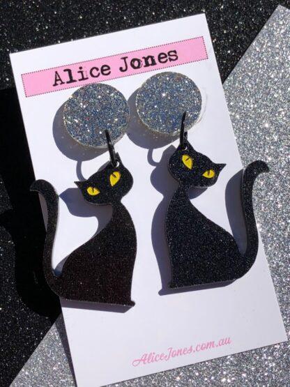 Halloween Black Cat Dangly Earrings