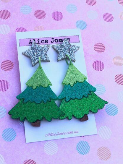 Layered Christmas Tree Dangly Earrings